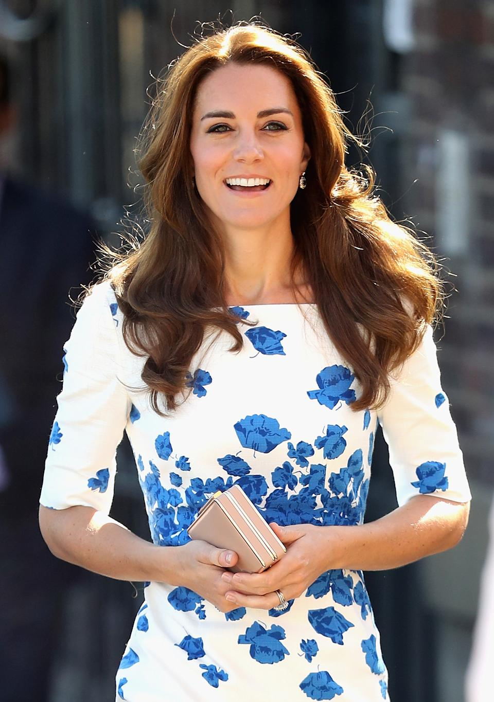 The Duchess of Cambridge with the Nina clutch at Youthscape on August 24, 2016. [Photo: Getty]
