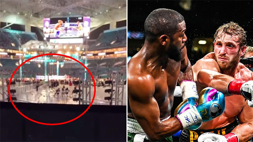 One fan's view (pictured left) from a $750 seat at the Hard Rock Stadium of Logan Paul and Floyd Mayweather (pictured right).