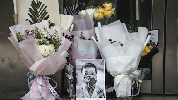 PHOTO: A portrait of Dr. Li Wenliang is left at Li's hospital in Wuhan, China, Feb. 7, 2020. (via Getty Images)