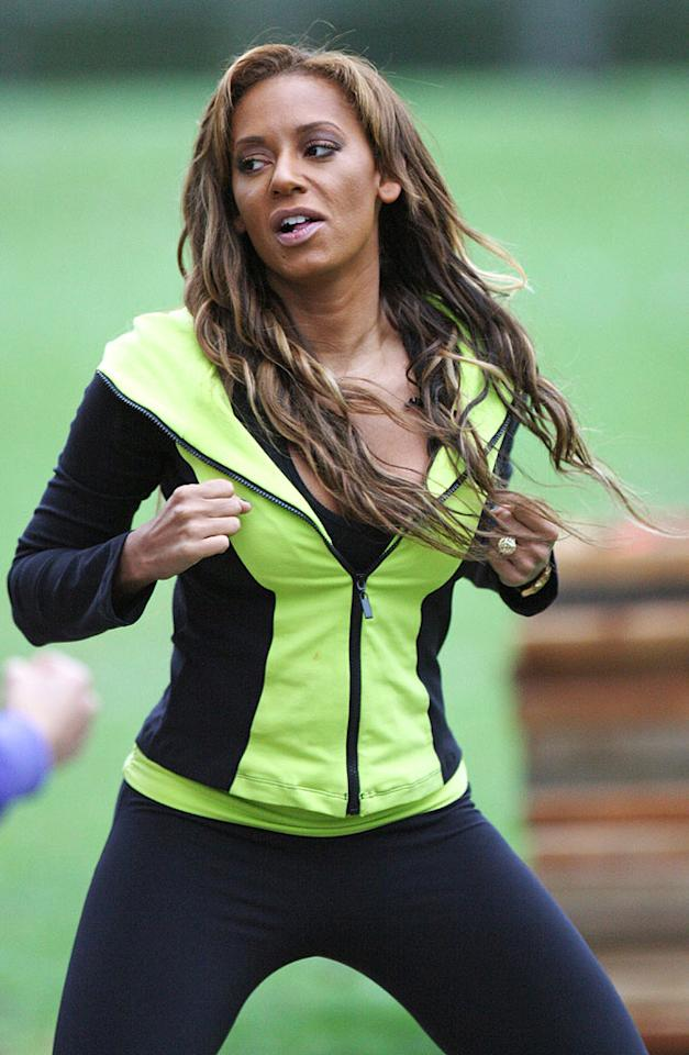 """The """"Dance Your A** Off"""" host is no stranger to feeling the burn. Her fitness DVD was released last year, her video game for PlayStation 3, called """"Get Fit With Mel B,"""" hit stores last month, and just last week she was spotted squeezing in a late-night sweat session. Trevor Adams/<a href=""""http://www.infdaily.com"""" target=""""new"""">INFDaily.com</a> - October 13, 2010"""
