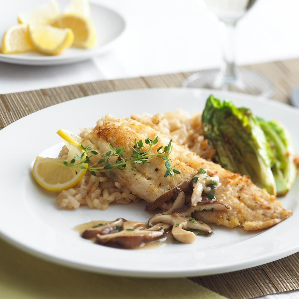 <p>These delicious tilapia fillets are topped with an easy herb and mushroom sauce and can be on your table in just 30 minutes. If you have an extra 15 minutes, try our Caramelized Onion Risotto (see associated recipe) which beautifully rounds out this meal. When shopping for fresh tilapia or other fish fillets, look for moist, cleanly cut fillets with a sweet, not fishy, aroma.</p>