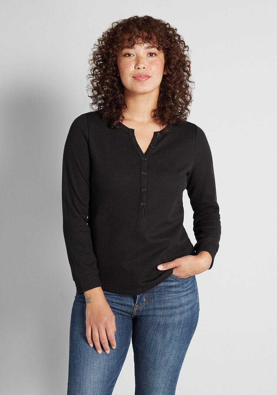"""<h3><h2>ModCloth Beyond Comfy & Cozy Henley</h2></h3><br><strong>Available Sizes: XS-2X</strong><br>ModCloth's Beyond Comfy & Cozy Henley is just as good as it sounds. It's your classic everyday thermal (that also comes in a pretty green hue, too). It's so popular that the larger sizes have started to sell out, but hurry and you might be able to snag one. <br><br><em>Shop </em><a href=""""https://www.modcloth.com/shop/tops/modcloth-beyond-comfy-and-cozy-henley-in-black/173604.html"""" rel=""""nofollow noopener"""" target=""""_blank"""" data-ylk=""""slk:ModCloth"""" class=""""link rapid-noclick-resp""""><em><strong>ModCloth</strong></em></a><br><br><strong>ModCloth</strong> Beyond Comfy and Cozy Henley, $, available at <a href=""""https://go.skimresources.com/?id=30283X879131&url=https%3A%2F%2Fwww.modcloth.com%2Fshop%2Ftops%2Fmodcloth-beyond-comfy-and-cozy-henley-in-black%2F173604.html"""" rel=""""nofollow noopener"""" target=""""_blank"""" data-ylk=""""slk:ModCloth"""" class=""""link rapid-noclick-resp"""">ModCloth</a>"""