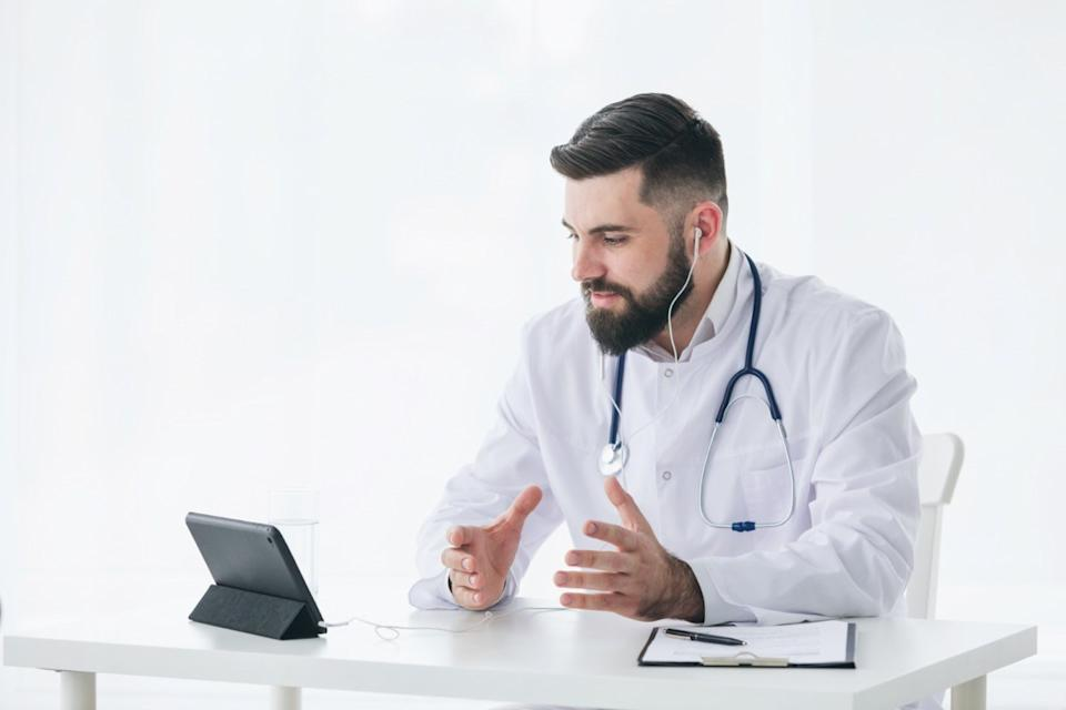 Doctor speaking on video call