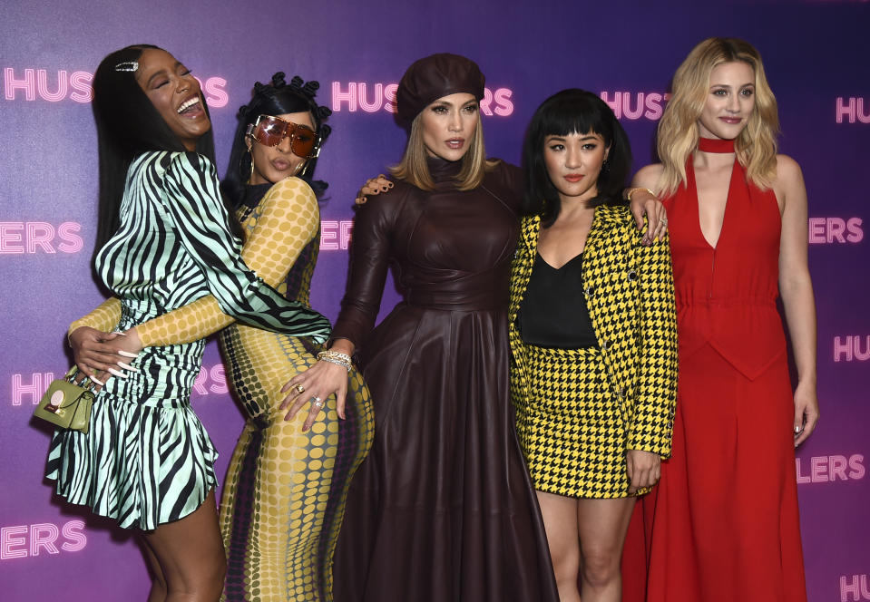 "Keke Palmer, from left, Cardi B, Jennifer Lopez, Constance Wu, and Lili Reinhart arrive at a photo call for ""Hustlers"" at The Four Seasons on Sunday, Aug. 25, 2019 in Beverly Hills, Calif . (Photo by Jordan Strauss/Invision/AP)"
