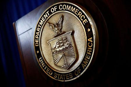 The seal of the Department of Commerce is seen, before Commerce Secretary Wilbur Ross holds a news conference at the Department of Commerce in Washington