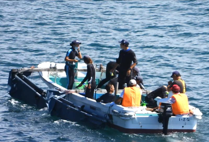 Dolphin trainers are ferried out to select dolphins. Source: Dolphin Project / Life Investigation Agency