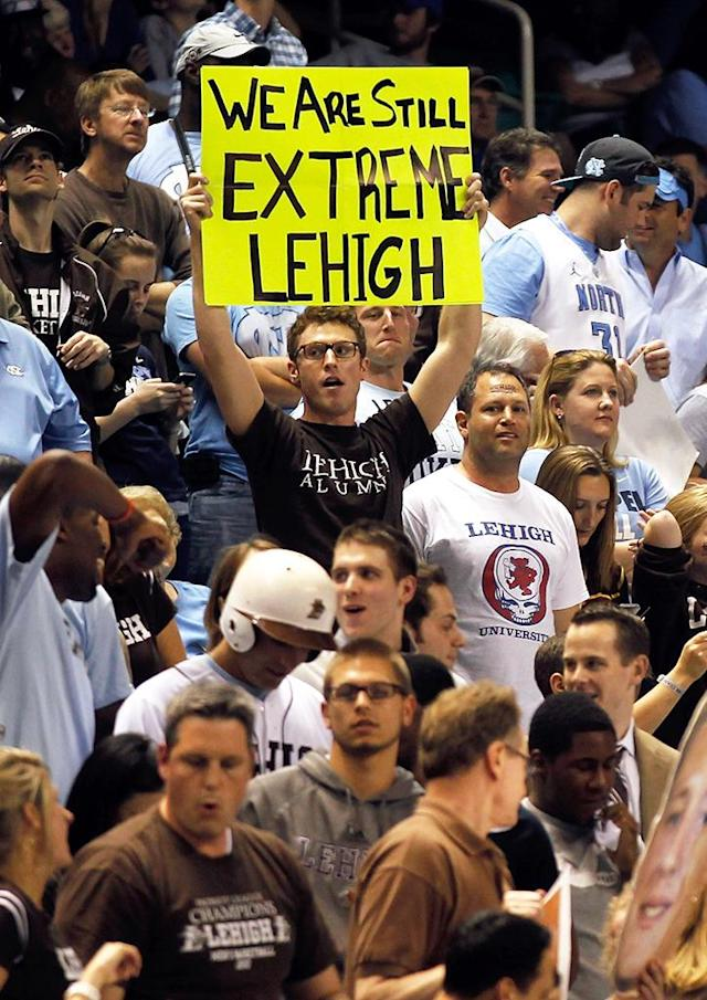 Lehigh Mountain Hawks fans hold up signs as the Mountain Hawks take on the North Carolina Tar Heels during the third round of the 2012 NCAA Men's Basketball Tournament at Greensboro Coliseum on March 18, 2012 in Greensboro, North Carolina. (Photo by Mike Ehrmann/Getty Images)