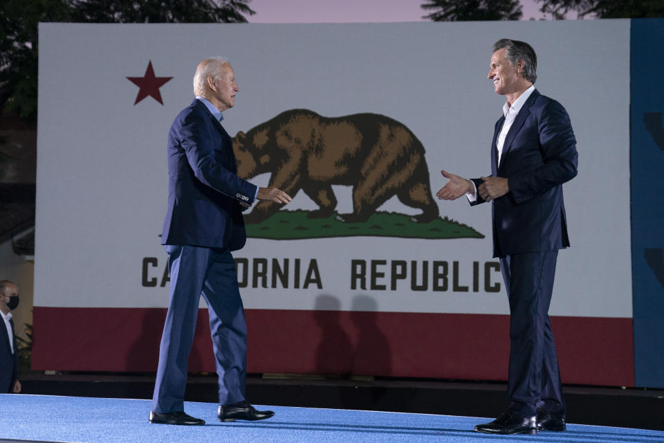 President Joe Biden arrives at a get out the vote rally for Gov. Gavin Newsom, D-Calif., at Long Beach City College, Monday, Sept. 13, 2021, in Long Beach, Calif., as Newsom faces a recall election on Tuesday. (AP Photo/Evan Vucci)