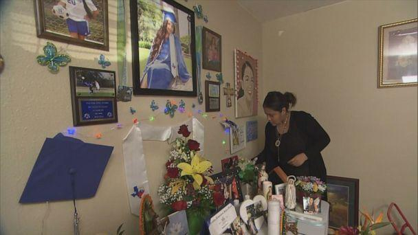 PHOTO: Gloria Guillen attends to a small memorial to Vanessa in the family's home. (ABC)