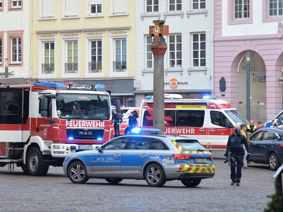 A square is blocked by the police in Trier, Germany, after the crash (AP)