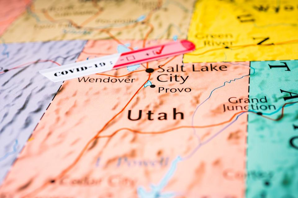 map of utah showing covid test positivity