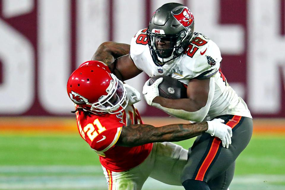 Buccaneers RB Leonard Fournette had 135 total yards in Tampa Bay's Super Bowl 55 defeat of the Chiefs.