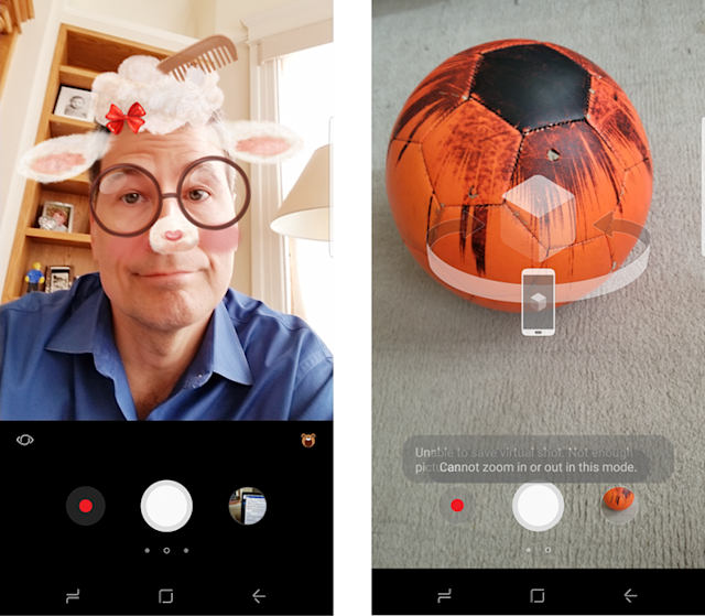 The Camera app is full of tricks, like Snapchat-style video overlays (left) and 3-D walkarounds of objects (right).