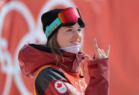 Freestyle Skiing - Pyeongchang 2018 Winter Olympics - Women's Ski Halfpipe Qualifications - Phoenix Snow Park - Pyeongchang, South Korea - February 19, 2018 - Cassie Sharpe of Canada gestures. REUTERS/Mike Blake