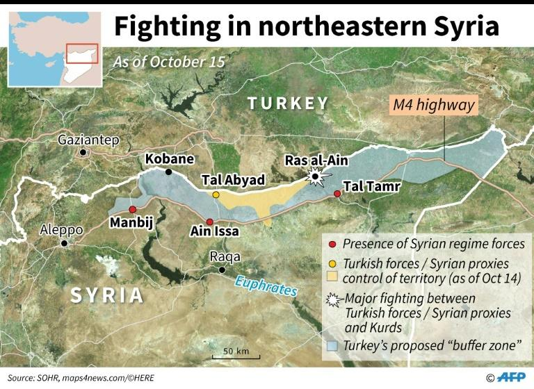 """Map locating control of territory in northeastern Syria after Turkey launched an offensive against Kurdish forces, includes Ankara's planned """"buffer zone"""" and towns with presence of Syrian regime forces. (AFP Photo/)"""