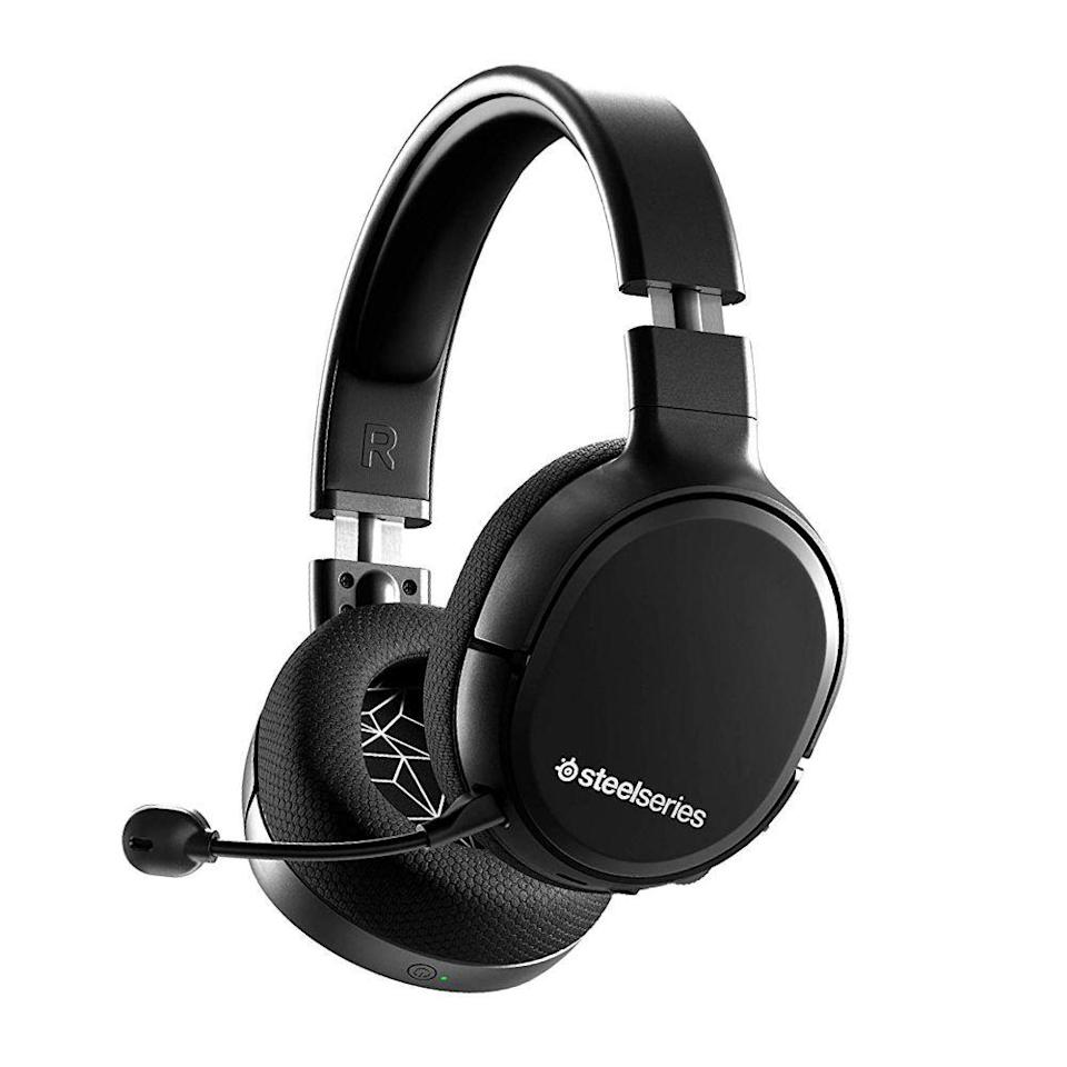 """<p><strong>SteelSeries</strong></p><p>amazon.com</p><p><strong>$92.49</strong></p><p><a href=""""https://www.amazon.com/dp/B07X64MTGL?tag=syn-yahoo-20&ascsubtag=%5Bartid%7C2089.g.864%5Bsrc%7Cyahoo-us"""" rel=""""nofollow noopener"""" target=""""_blank"""" data-ylk=""""slk:Shop Now"""" class=""""link rapid-noclick-resp"""">Shop Now</a></p><p>The Arctis 1 wireless gaming headphones by SteelSeries deliver excellent sound and flawless comfort at a reasonable price. They're bundled with a tiny USB-C dongle for wireless connectivity, meaning they're compatible with Nintendo Switch gaming consoles and even Android phones. </p><p>The headset can connect wirelessly to PlayStation 4 consoles, as well as PC without the dongle. It has an ultra sensitive detachable microphone that's great for both in-game trash talk and making calls.</p><p><strong>More: </strong><a href=""""https://www.bestproducts.com/tech/electronics/a14435907/reviews-best-gaming-headsets/"""" rel=""""nofollow noopener"""" target=""""_blank"""" data-ylk=""""slk:The Best Gaming Headsets Worth Your Attention"""" class=""""link rapid-noclick-resp"""">The Best Gaming Headsets Worth Your Attention</a></p>"""