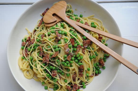 """<p>Thanks Daddy for this one. Try <b><b><a href=""""https://www.food52.com/recipes/214-daddy-s-carbonara?utm_source=yahoofood&utm_medium=referral&utm_campaign=10hangoverhelpers"""">Daddy's Carbonara</a><i>.</i></b></b><b></b><i>(Photo: Eric Liftin/Food52)</i></p><p><a href=""""/recipes/21285-chilaquiles-verdes""""></a></p><p><a href=""""/recipes/21285-chilaquiles-verdes""""></a></p>"""