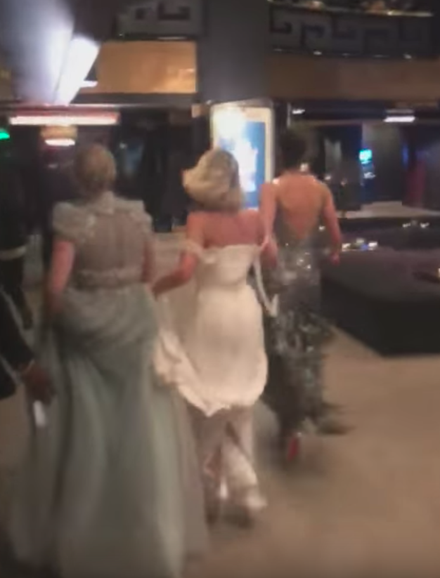 Then impressively in their long gowns and heels, Margot, Emily and Gal Gadot run off to get to their correct places for the epic surprise. Source: YouTube / Jimmy Kimmel Live