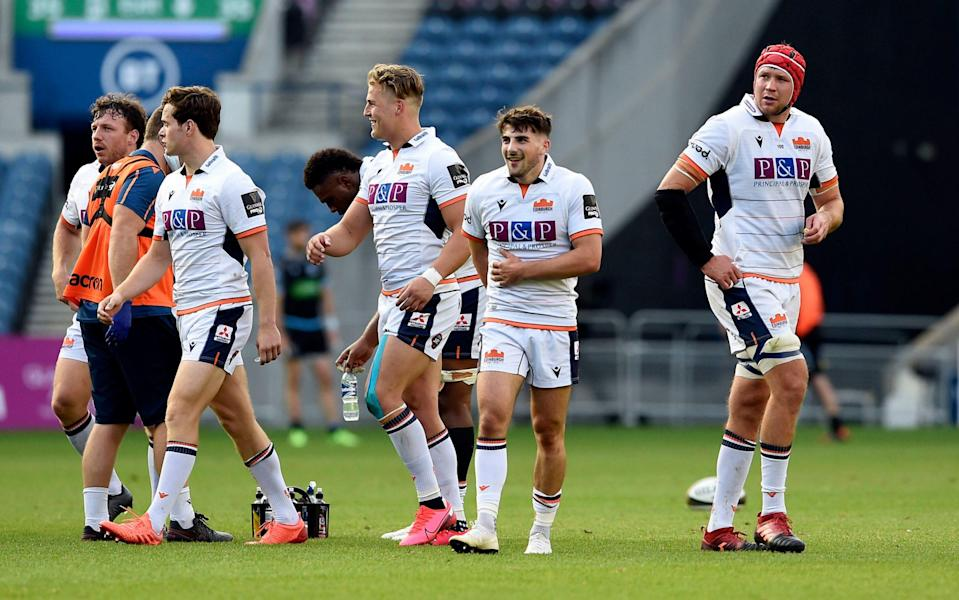 Charlie Shiel (second right) after scoring the final try during the Guinness PRO14 match at BT Murrayfield, Edinburgh. - PA