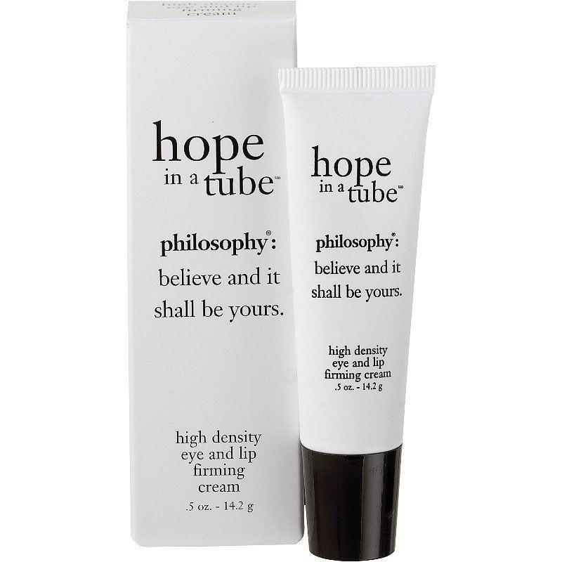 "<h3>Philosophy Hope In A Tube</h3><br>Philosophy's Hope in a Tube does double duty — the ultra-moisturizing eye <em>and</em> lip cream helps to minimize fine lines around these areas. So, those pesky little crow's feet? You can get rid of them the same way you get rid of the lines in the corners of your mouth. The blend of vitamins E and C helps to reduce the appearance of these lines and revitalize the skin.<br><br><strong>Philosophy</strong> Philosophy Hope In A Tube, $, available at <a href=""https://go.skimresources.com/?id=30283X879131&url=https%3A%2F%2Fwww.ulta.com%2Fhope-in-a-tube%3FproductId%3DxlsImpprod1490042"" rel=""nofollow noopener"" target=""_blank"" data-ylk=""slk:Ulta Beauty"" class=""link rapid-noclick-resp"">Ulta Beauty</a>"