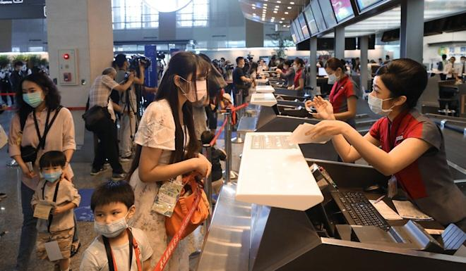Songshan Airport offered the people to check-in but go anywhere. Photo: CNA