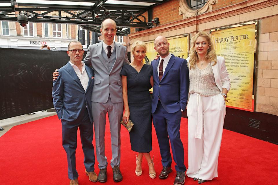 <p>Jack Thorne, J.K. Rowling, John Tiffany and Sonia Friedman at the premiere of Harry Potter and the Cursed Child</p> (David Benett/Getty Images)