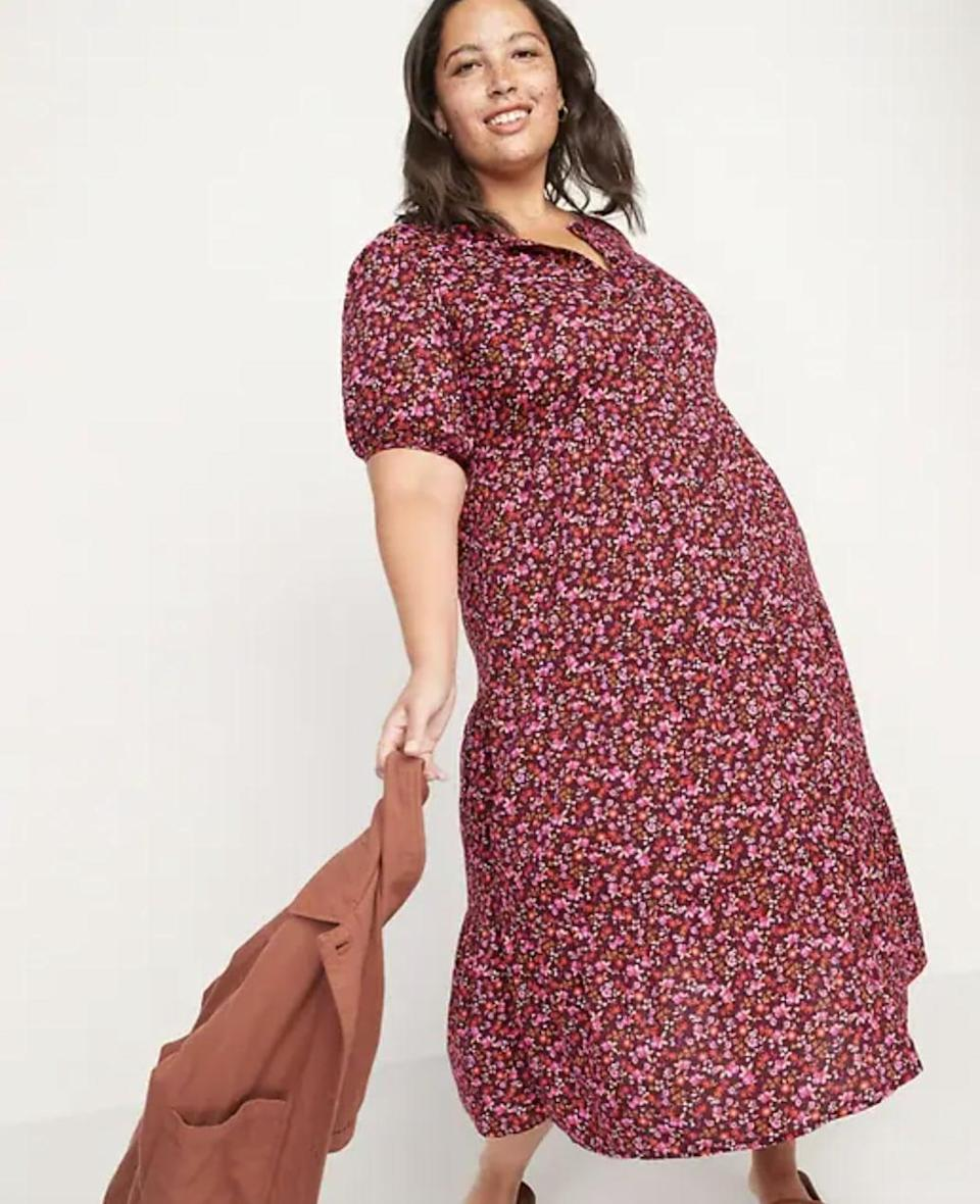 <p>This <span>Old Navy Floral Puff-Sleeve Button-Front Midi Swing Dress</span> ($45) is light enough for summer but can be worn with tall boots and a thick cardigan jacket when it gets colder, too.</p>