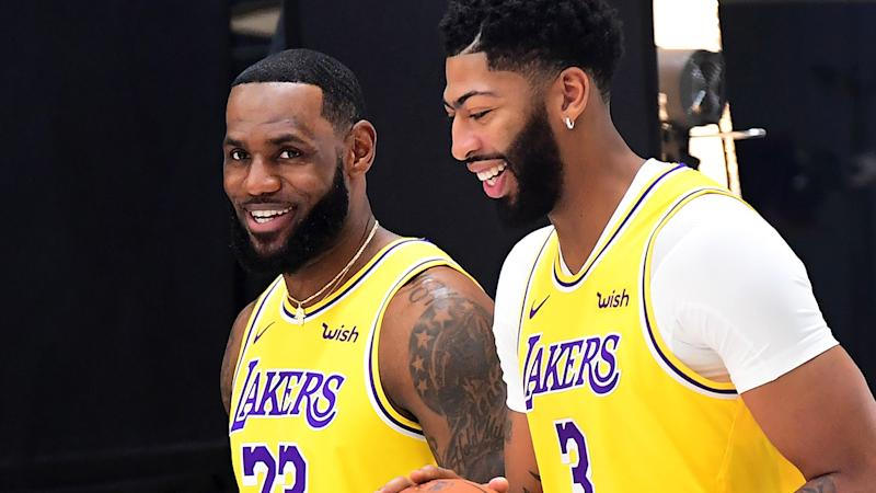 LeBron James and Anthony Davis, pictured during the Los Angeles Lakers' media day, will be relied on heavily this season.