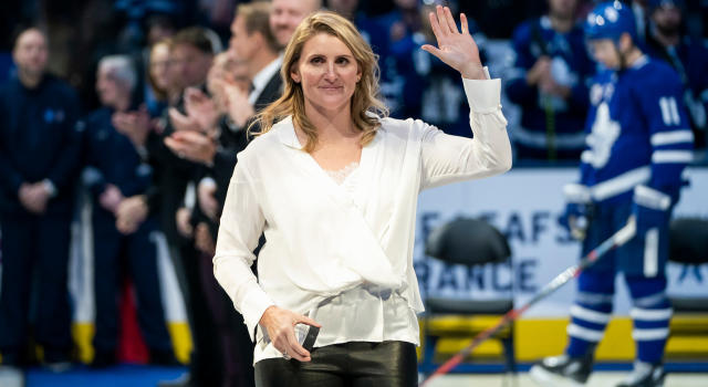 Hayley Wickenheiser will become the seventh woman to join the Hockey Hall of Fame on Monday night. (Photo by Mark Blinch/NHLI via Getty Images)