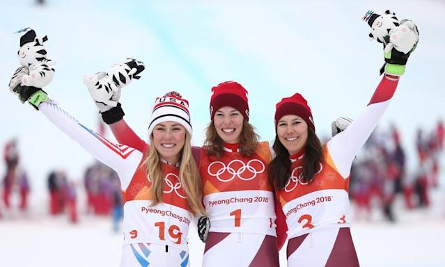 "<span class=""element-image__caption"">Michelle Gisin of Switzerland, Mikaela Shiffrin of the United States and Wendy Holdener of Switzerland celebrate on the podium after the alpine combined.</span> <span class=""element-image__credit"">Photograph: Dan Istitene/Getty Images</span>"