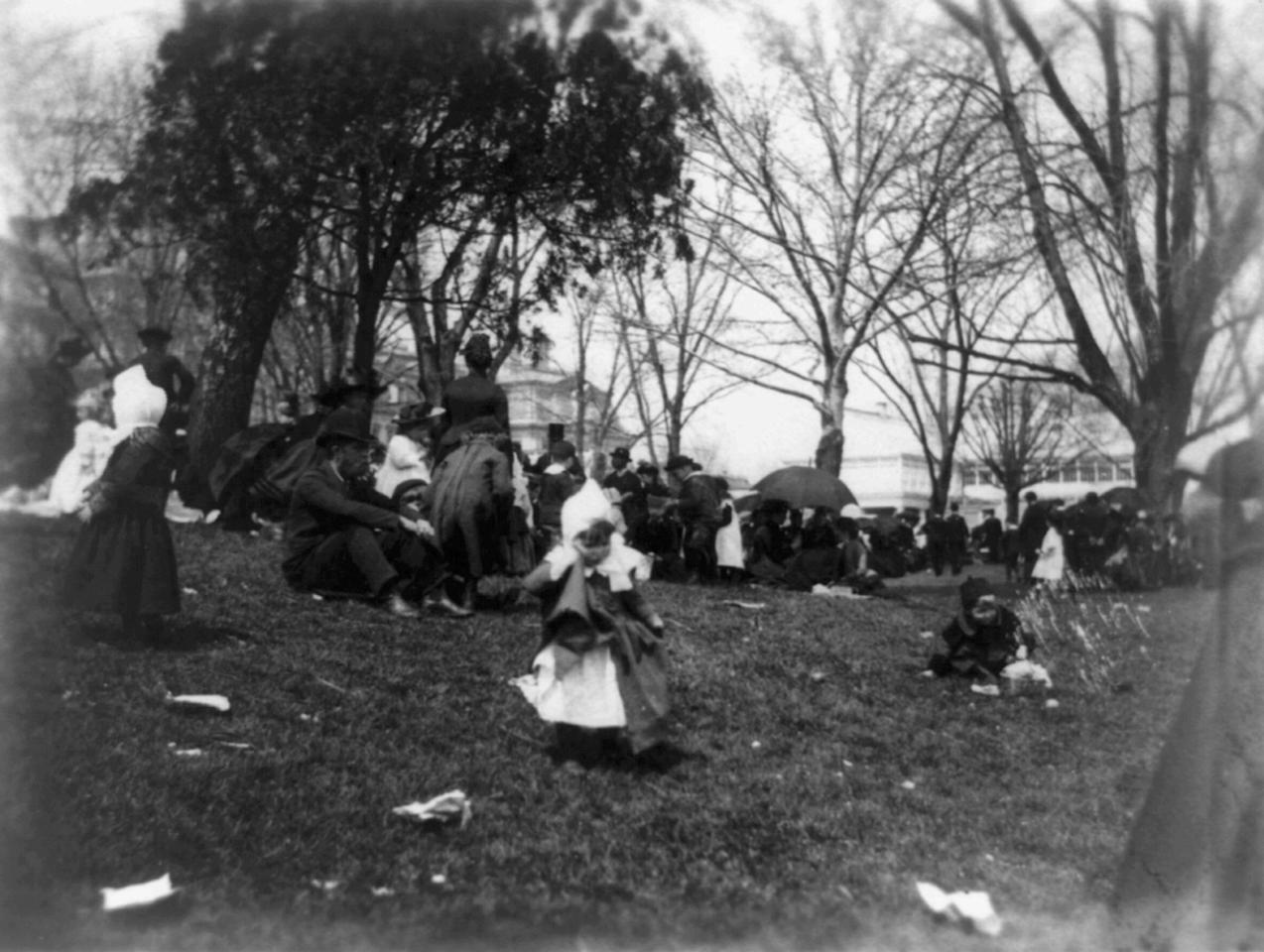 <p>Children and adults on the White House grounds for the Easter Egg Roll in Washington, 1889. </p>