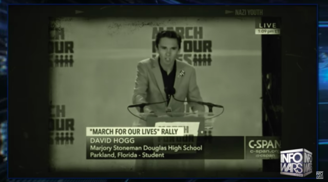 A screengrab from InfoWars portraying Stoneman Douglas student David Hogg as Hitler.