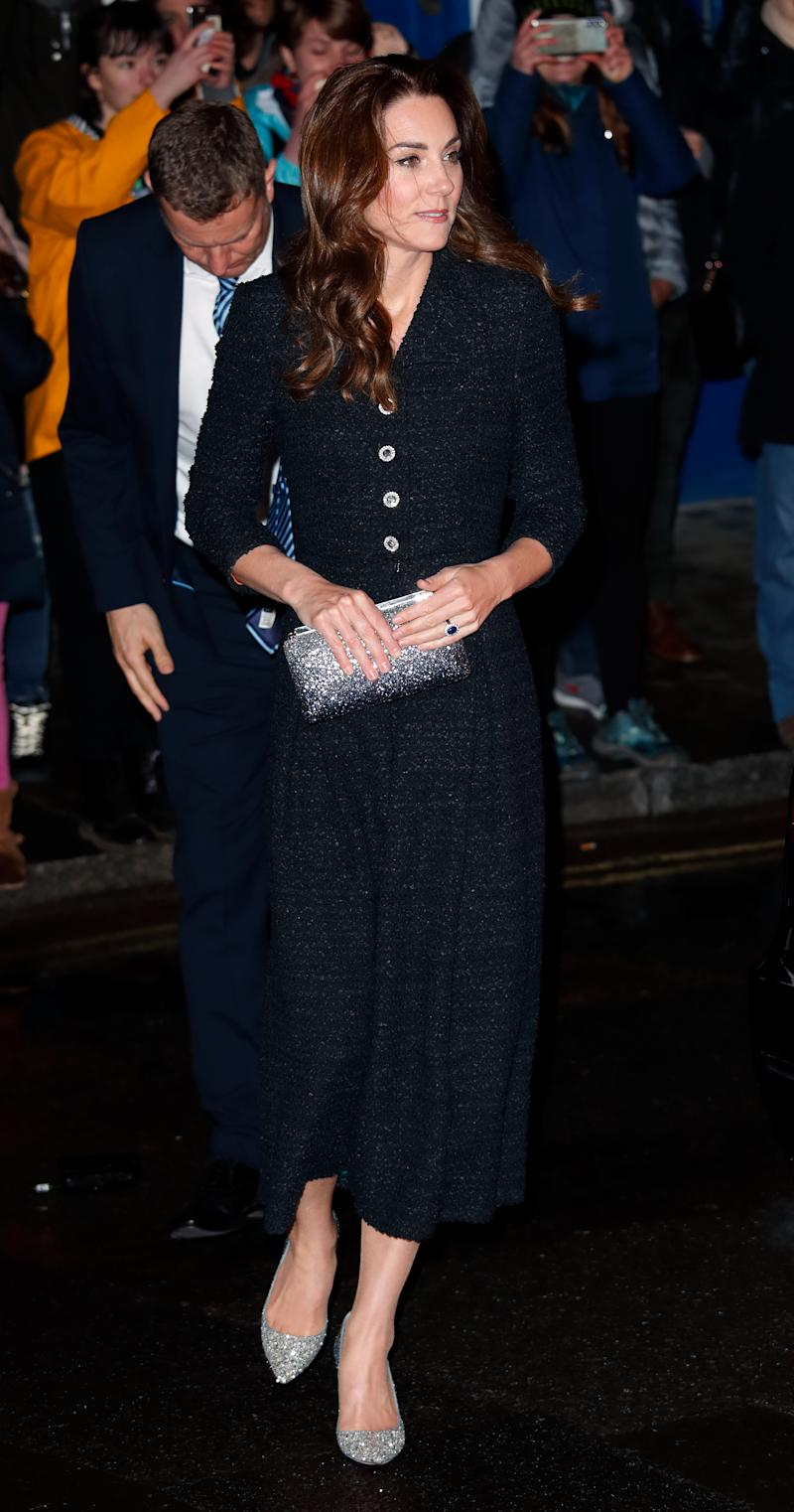 """LONDON, UNITED KINGDOM - FEBRUARY 25: (EMBARGOED FOR PUBLICATION IN UK NEWSPAPERS UNTIL 24 HOURS AFTER CREATE DATE AND TIME) Catherine, Duchess of Cambridge attends a charity performance of """"Dear Evan Hansen"""" in aid of The Royal Foundation at the Noel Coward Theatre on February 25, 2020 in London, England. (Photo by Max Mumby/Indigo/Getty Images)"""