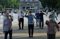 Older people often gather in parks and at shrines for the first radio taiso broadcast of the day at 6:30am