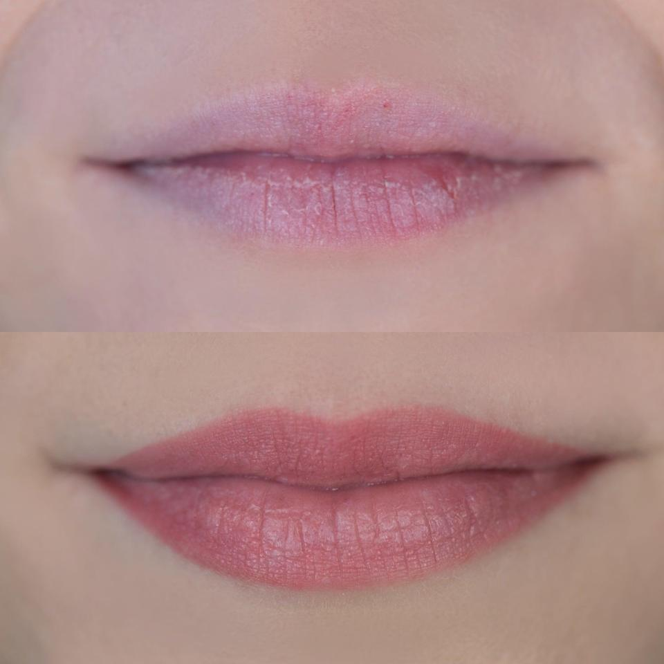 <p>The first photo is right before my lip blushing, and the second photo is my official healed results, 30 days later. My upper lip was a big focus for me, as it practically disappeared when I smiled. With lip blushing, it created more definition, color, and shape, and it turned out even better than I imagined. With my extremely dry lips, I noticed I lost some color, particularly toward the top of my bottom lip where my lips tend to peel most often. So I scheduled a second session for two weeks later.</p>