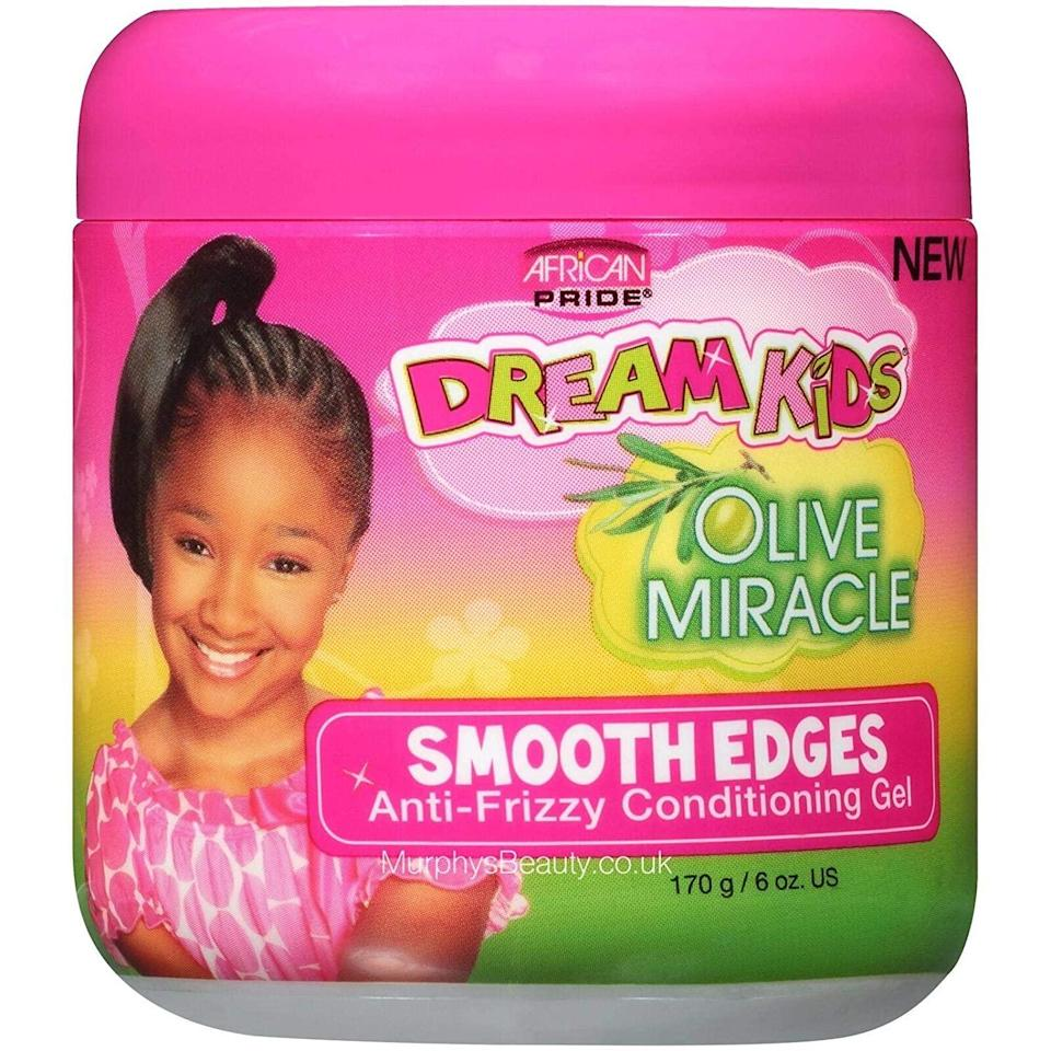 """<h2><h3>African Pride Dream Kids Smooth Edges Anti-Frizzy Conditioning Gel</h3></h2> <br>Worst feeling ever: Putting all that work into your at-home silk press just to wake up with frizzy edges. To avoid that, I always finish my styling sesh by slicking down my hairline with this pomade. Some edge-control gels can be sticky and end up flaking, but this one gives flexible hold and won't clump or crunch your hair. <br><br><strong>African Pride</strong> African Pride Anti-Frizzy Conditioning Gel, $, available at <a href=""""https://www.amazon.com/African-Pride-Dream-Miracle-Smooth/dp/B004GETH1Y"""" rel=""""nofollow noopener"""" target=""""_blank"""" data-ylk=""""slk:Amazon"""" class=""""link rapid-noclick-resp"""">Amazon</a><br>"""
