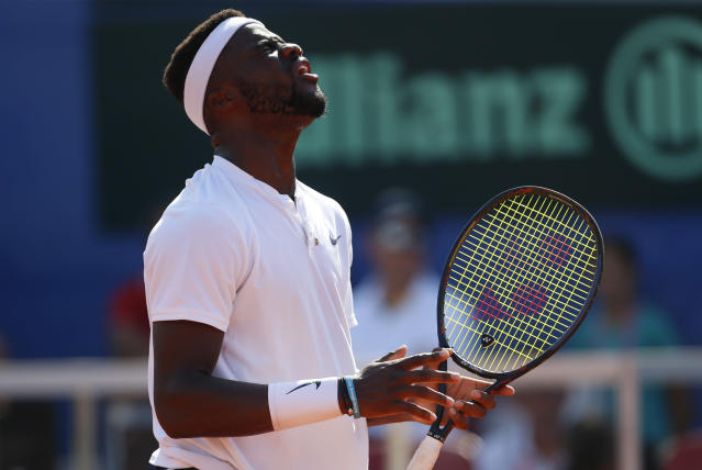 Frances Tiafoe of the United States reacts after missing a shot as he plays against Marin Cilic of Croatia during a Davis Cup semifinal singles match between Croatia and the United States in Zadar, Croatia, Friday, Sept. 14, 2018. (AP Photo/Darko Bandic)