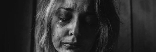 Close up of a woman crying