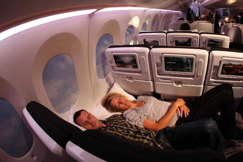 Two people can lie on the flat seats in economy on Air New Zealand flights (Flickr/Kent Wein)
