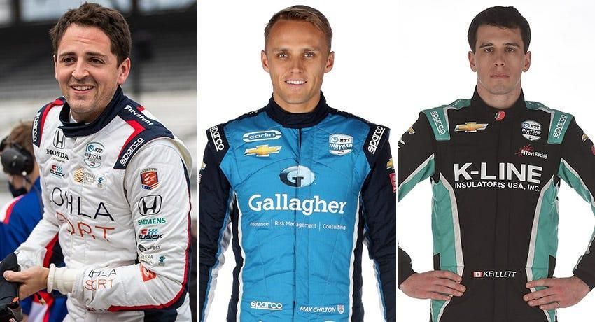 Stefan Wilson (from left), Max Chilton and Dalton Kellett, Row 10 for the 2021 Indianapolis 500.