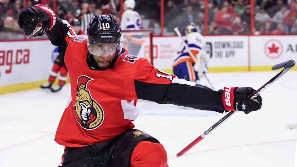 OTTAWA, ON - MARCH 05: Ottawa Senators Left Wing Anthony Duclair (10) celebrates after scoring a second period goal against the New York Islanders during the NHL game on March 05, 2020 at the Canadian Tire Centre in Ottawa, Ontario, Canada. (Photo by Steven Kingsman/Icon Sportswire via Getty Images)