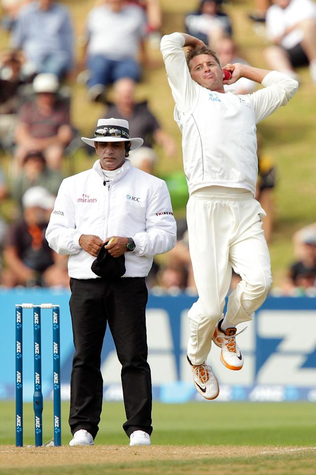 WELLINGTON, NEW ZEALAND - MARCH 15:  Bruce Martin of New Zealand bowls during day two of the second Test match between New Zealand and England at Basin Reserve on March 15, 2013 in Wellington, New Zealand.  (Photo by Hagen Hopkins/Getty Images)
