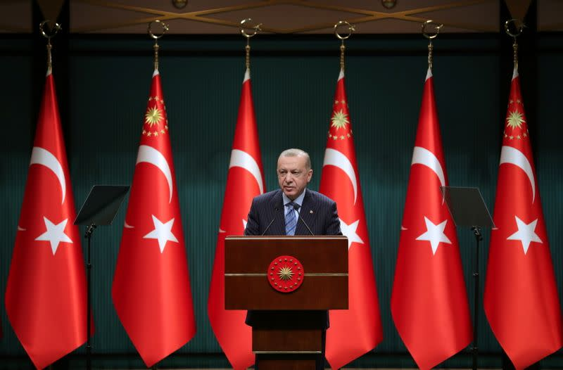 Turkish President Tayyip Erdogan gives a statement after a cabinet meeting in Ankara