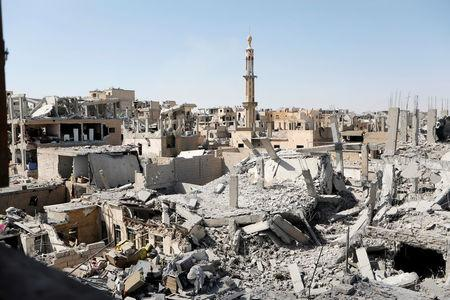 FILE PHOTO: Damaged building are pictured during the fighting with Islamic State's fighters in the old city of  Raqqa, Syria, August 19, 2017. REUTERS/Zohra Bensemra