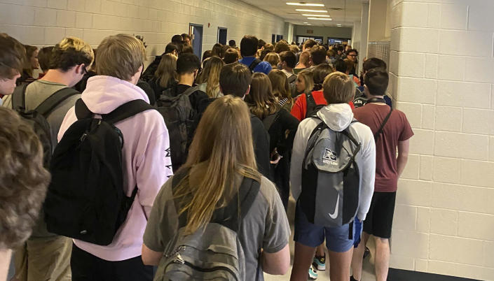 In this photo posted on Twitter, students crowd a hallway at North Paulding High School in Dallas, Georgia, on August 4, 2020. / Credit: AP