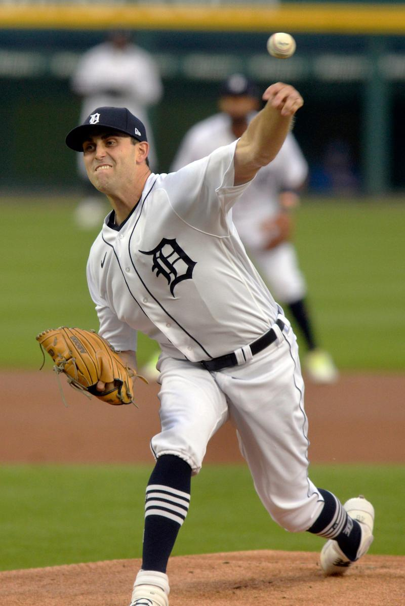 Detroit Tigers starting pitcher Matthew Boyd throws to a Kansas City Royals batter during the first inning of a baseball game Tuesday, Sept. 15, 2020, in Detroit.