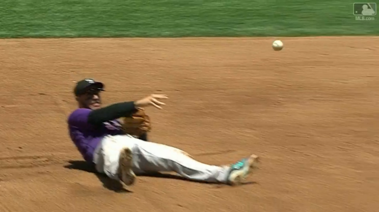 Nolan Arenado threw out the runner at first from this position. (MLB.com Screenshot)