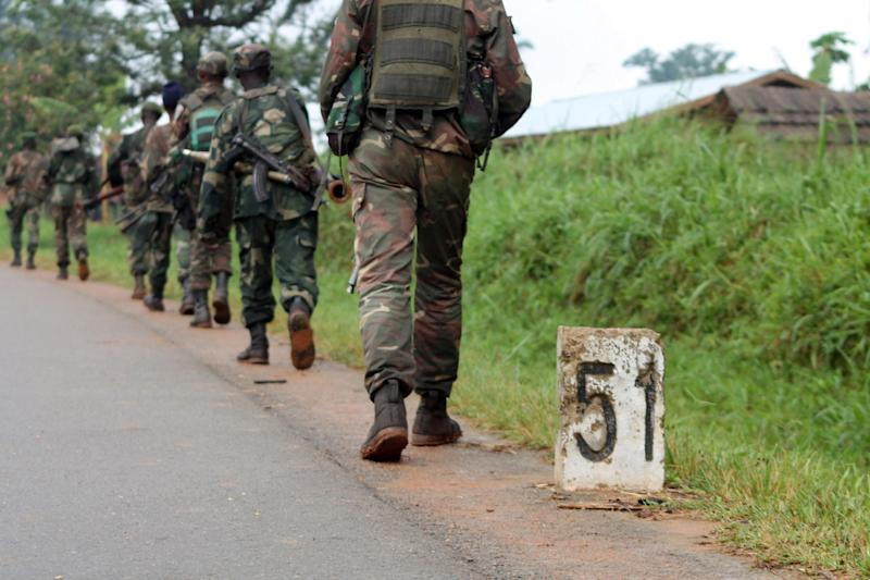 Democratic Republic of Congo soldiers march on December 31, 2013 in Eringeti towards the front line to fight against the Allied Democratic Forces