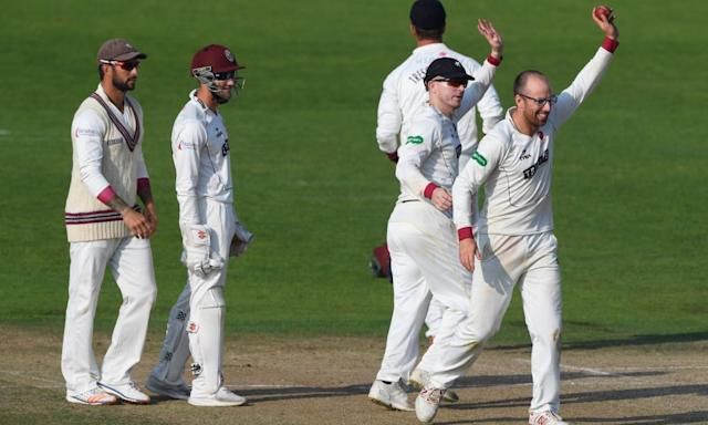 "<span class=""element-image__caption"">Jack Leach, right, was a key performer for Somerset in 2016 but how will his remodelled action fare?</span> <span class=""element-image__credit"">Photograph: Stu Forster/Getty Images</span>"