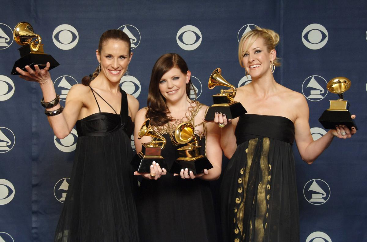 Emily Robison, Natalie Maines and Martie Maguire of the Dixie Chicks, winners Album of the Year, Record of the Year, Song of the Year, Best Country Performance by a Duo or Group with Vocal and Best Country Album (Photo by SGranitz/WireImage)
